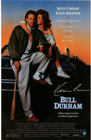 Kevin Costner Signed Bull Durham 11x17 Movie Poster