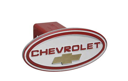 Chevy - Chevrolet - Red w/ Gold Bowtie - Oval - 1-1/4Inch Billet Hitch Cover - DefenderWorx - Dropship Direct Wholesale