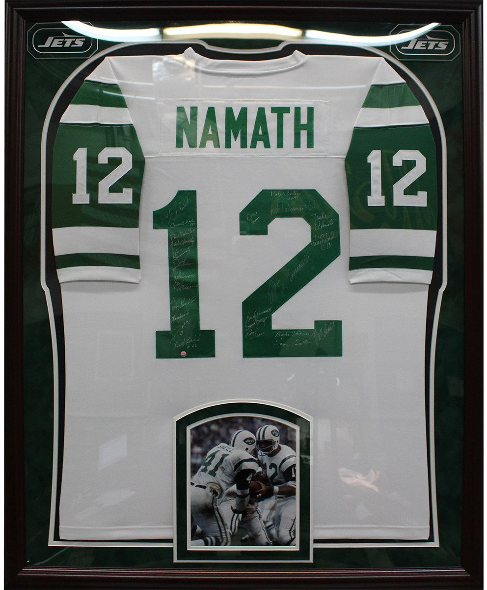 1969 New York Jets Elite Framed Team Signed White Joe Namath Mitchell Ness Jersey 24 Signatures