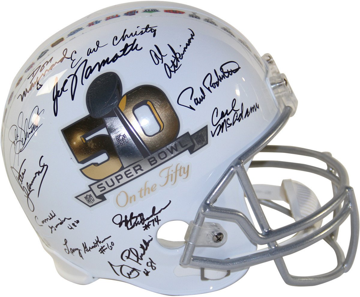 1969 New York Jets Team Signed Super Bowl 50 On The Fifty Commemorative Replica Helmet 23 Signatures