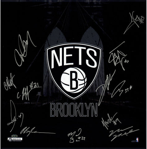 Brooklyn Nets Team Signed 20x20 Photo Brooklyn Bridge 12 Sig