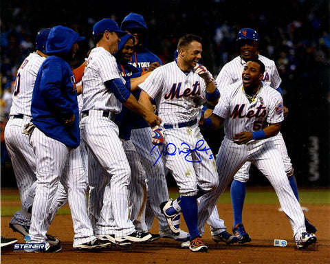 David Wright Signed Celebration After Walk Off vs Brewers 16x20 Photo MLB Auth