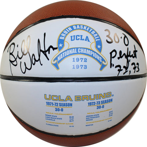 Bill Walton Signed UCLA 1972 and 1973 National Champions Full Size White Panel Basketball w/30-0 72/73 Perfect Insc