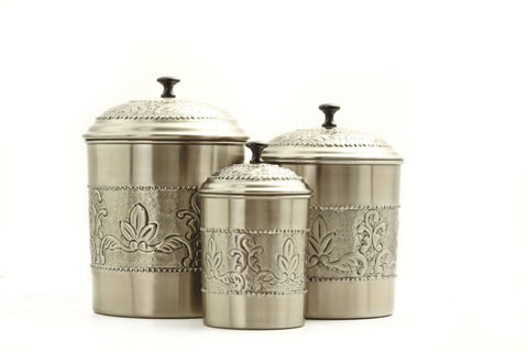 Set 3 Antique Embossed Pewter Canisters 5.5Qt/4Qt/3Qt - Old Dutch - Dropship Direct Wholesale