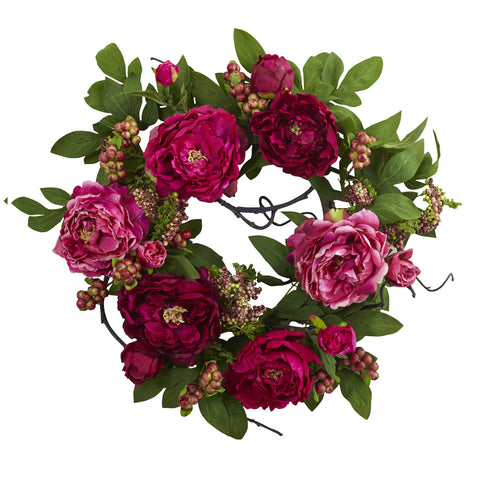20ftft Peony & Berry Wreath - Nearly Natural - Dropship Direct Wholesale