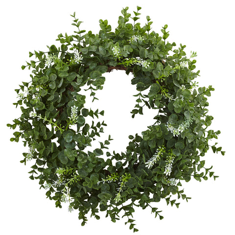 18in Eucalyptus Double Ring Wreath w/Twig Base - Nearly Natural - Dropship Direct Wholesale