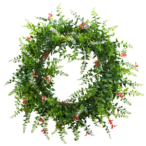 18in Floral & Fern Double Ring Wreath w/Twig Base - Nearly Natural - Dropship Direct Wholesale