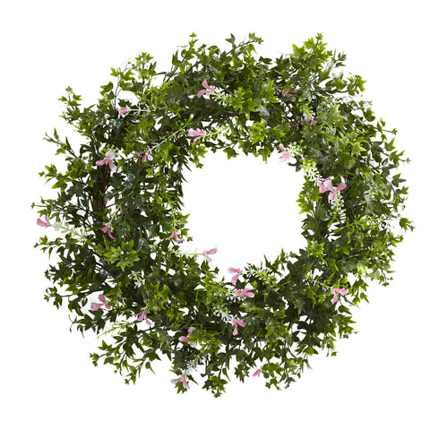 18in Mini Ivy & Floral Double Ring Wreath w/Twig Base - Nearly Natural - Dropship Direct Wholesale