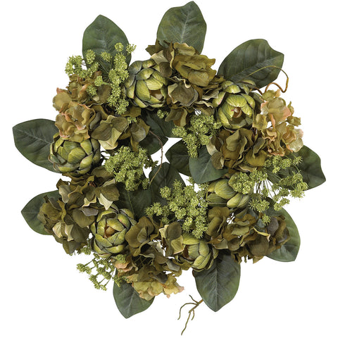 18in Artichoke Wreath - Nearly Natural - Dropship Direct Wholesale