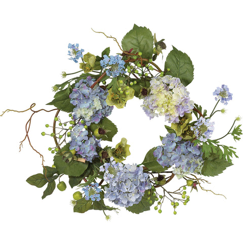 20in Hydrangea Wreath - Nearly Natural - Dropship Direct Wholesale