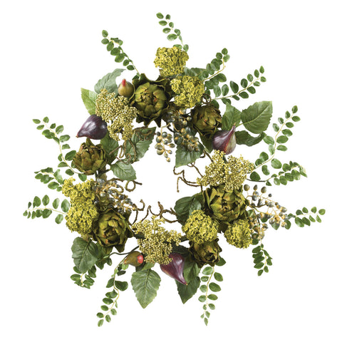 20in Artichoke Floral Wreath - Nearly Natural - Dropship Direct Wholesale