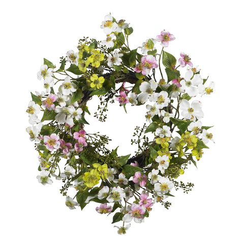20in Dogwood Wreath - Nearly Natural - Dropship Direct Wholesale