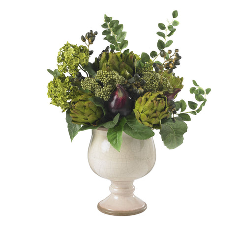 Artichoke and Hydrangea Silk Flower Arrangement - Nearly Natural - Dropship Direct Wholesale