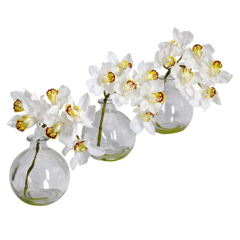 Cymbidium w/Vase Silk Flower Arrangement (Set of 3) - Nearly Natural - Dropship Direct Wholesale
