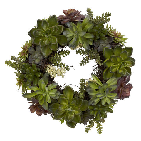 20in Succulent Wreath - Nearly Natural - Dropship Direct Wholesale