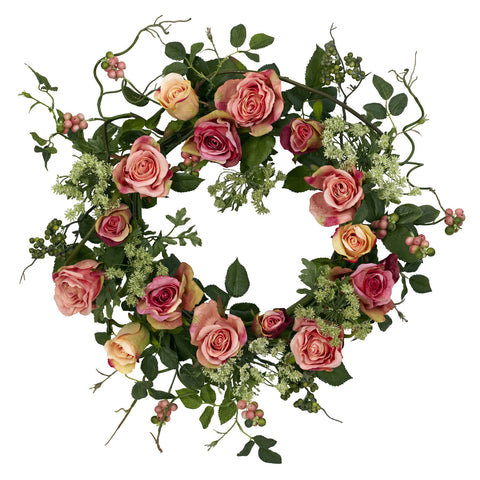 20in Rose Wreath - Nearly Natural - Dropship Direct Wholesale
