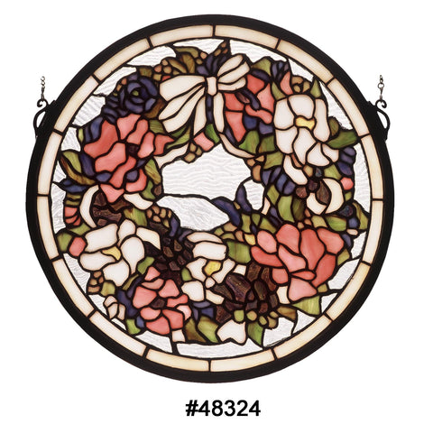 15 Inch W X 15 Inch H Revival Wreath & Garland Medallion Stained Glass Window - Meyda - Dropship Direct Wholesale