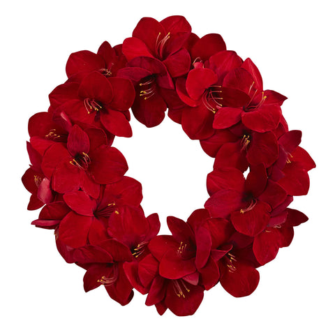 22in Amaryllis Wreath - Nearly Natural - Dropship Direct Wholesale