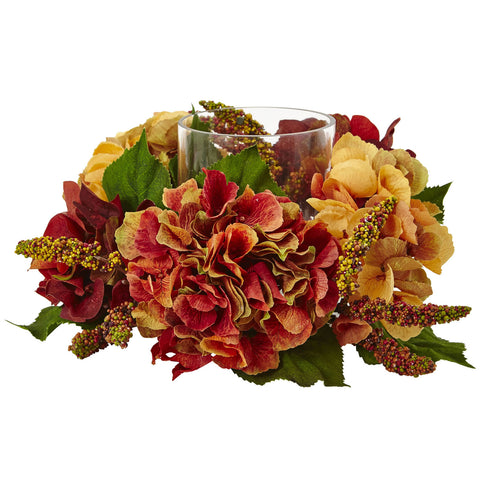 Autumn Hydrangea Berry Candelabrum - Nearly Natural - Dropship Direct Wholesale