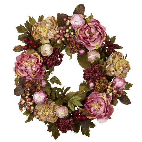 24in Peony Hydrangea Wreath - Nearly Natural - Dropship Direct Wholesale