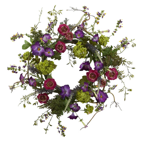 20in Veranda Garden Wreath - Nearly Natural - Dropship Direct Wholesale