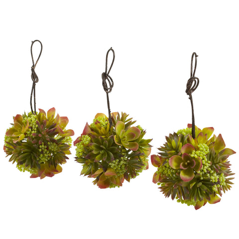 5in Mixed Succulent Hanging Ball (Set of 3) - Nearly Natural - Dropship Direct Wholesale