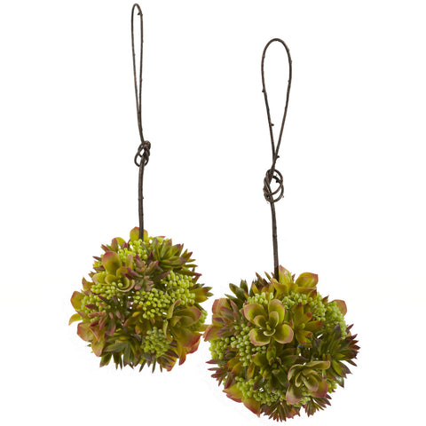 7in Mixed Succulent Hanging Spheres (Set of 2) - Nearly Natural - Dropship Direct Wholesale