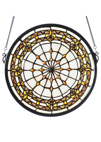 13 Inch Round Fleur-de-lis Medallion Stained Glass Window - Meyda - Dropship Direct Wholesale