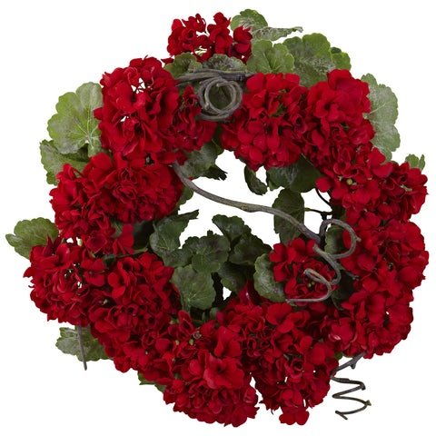 17in Geranium Wreath - Nearly Natural - Dropship Direct Wholesale
