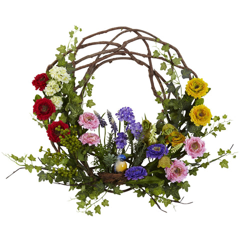 22in Spring Floral Wreath - Nearly Natural - Dropship Direct Wholesale
