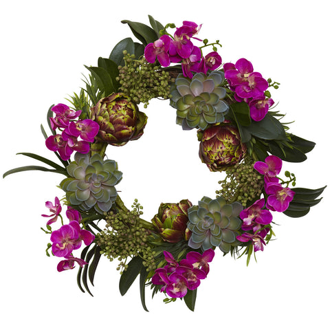 20in Orchid Artichoke & Succulent Wreath - Nearly Natural - Dropship Direct Wholesale