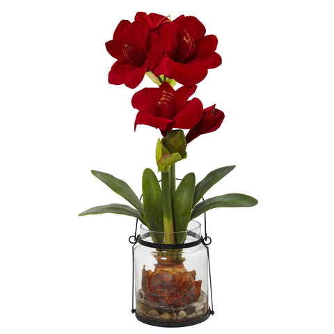 24in Amaryllis w/Vase - Nearly Natural - Dropship Direct Wholesale