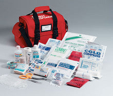 First Responder kit- 158 piece- semi-rigid red bag w/ handle- shoulder strap- side pockets- removable divider - First Aid Only - Dropship Direct Wholesale