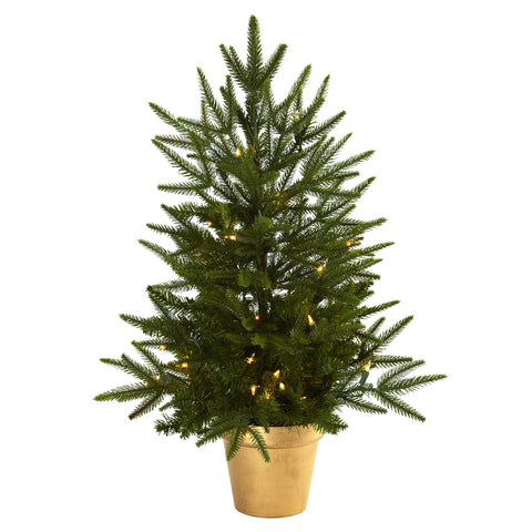 2.5ft Christmas Tree w/Golden Planter & Clear Lights - Nearly Natural - Dropship Direct Wholesale