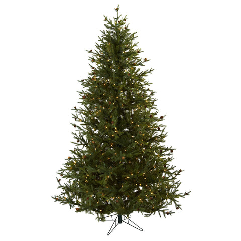 7.5ft Classic Pine & Pine Cone Christmas Tree - Nearly Natural - Dropship Direct Wholesale