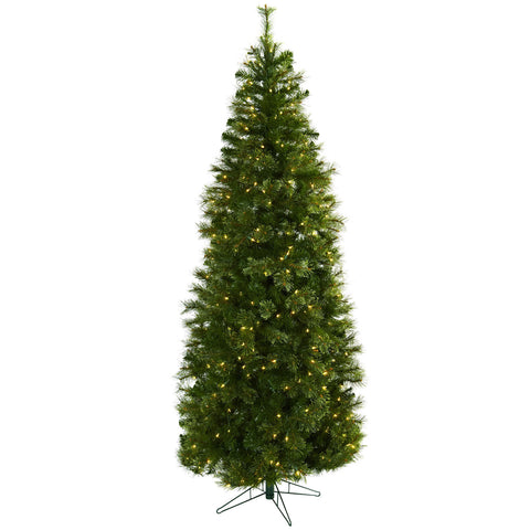 7.5ft Cashmere Slim Christmas Tree w/Clear Lights - Nearly Natural - Dropship Direct Wholesale