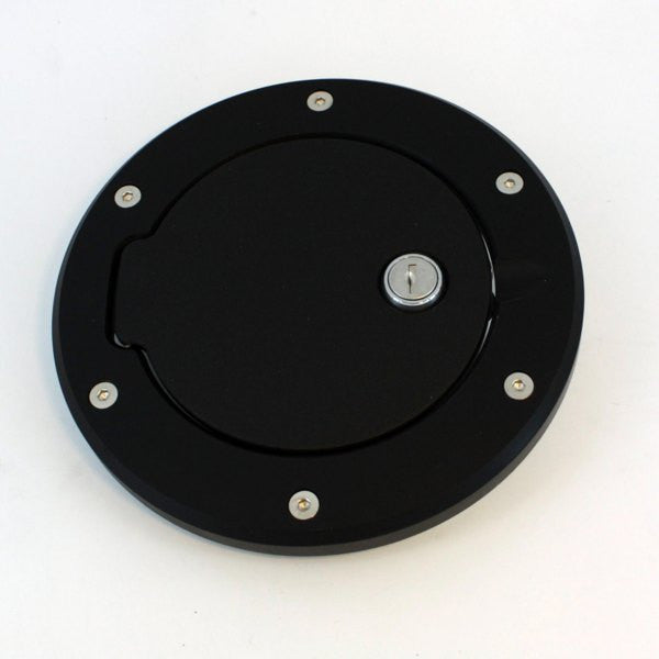 All Sales Race Style Billet Fuel Dr 6 3/8 Ring O.D. 5 1/8 Door O.D.-Flat Black Ring and Locking Door - AMI - Dropship Direct Wholesale