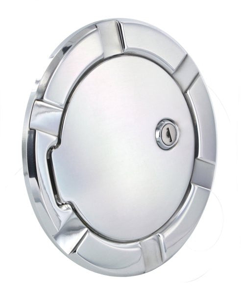 All Sales Striker Style Billet Fuel Dr 7 1/8 Ring O.D. 5 1/8 Door O.D. -Polished locking - AMI - Dropship Direct Wholesale