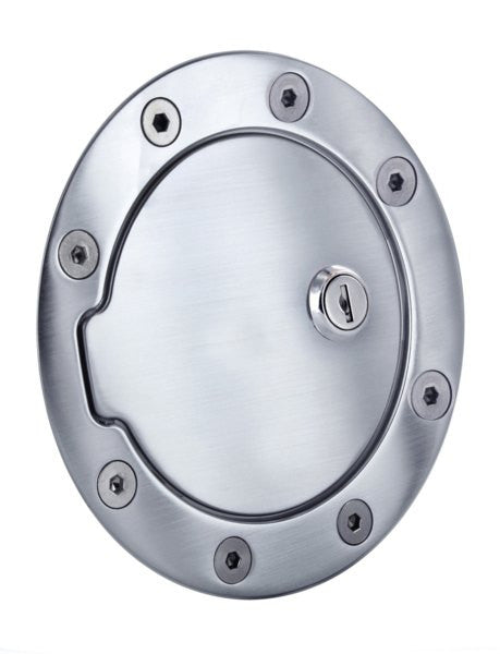All Sales Race Style Billet Fuel Dr 5 3/4 Ring O.D. 4 1/8 Door O.D.-Brushed Chrome Locking - AMI - Dropship Direct Wholesale