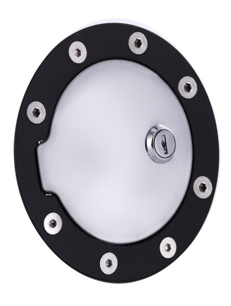 All Sales Race Style Billet Fuel Dr 5 3/4 Ring O.D. 4 1/8 Door O.D.-Flat Black Ring and Chrome Locking Door - AMI - Dropship Direct Wholesale