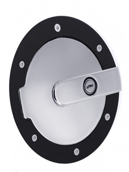 All Sales Race Style Billet Fuel Dr 7 Ring O.D. 5 1/8 Door O.D.-Gloss Black Ring and Chrome Locking Door - AMI - Dropship Direct Wholesale