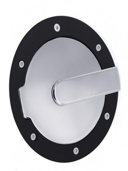 All Sales Race Style Billet Fuel Dr 7 Ring O.D. 5 1/8 Door O.D.-Flat black Ring and Chrome Door - AMI - Dropship Direct Wholesale