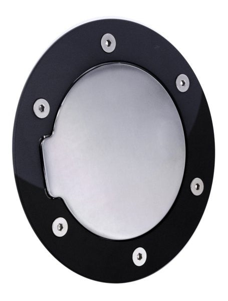 All Sales Race Style Billet Fuel Dr 7 1/8 Ring O.D. 5 1/8 Door O.D. -Gloss Black Ring and Chrome Door - AMI - Dropship Direct Wholesale
