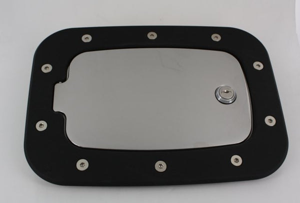 All Sales Race Style Billet Fuel Dr 10 3/8 X 7 5/8 Ring 8 X 4 5/8 Door -Flat Black Ring and Chrome Locking D - AMI - Dropship Direct Wholesale