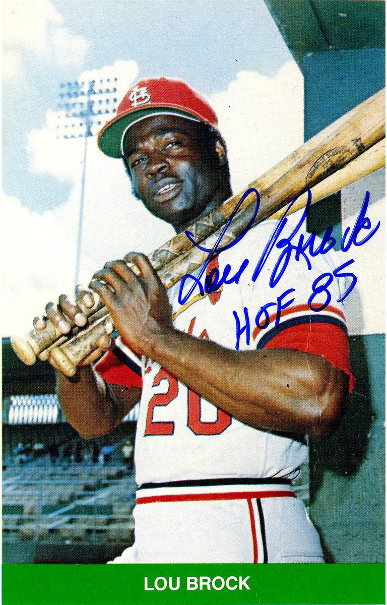Lou Brock Signed Trading Card JSA