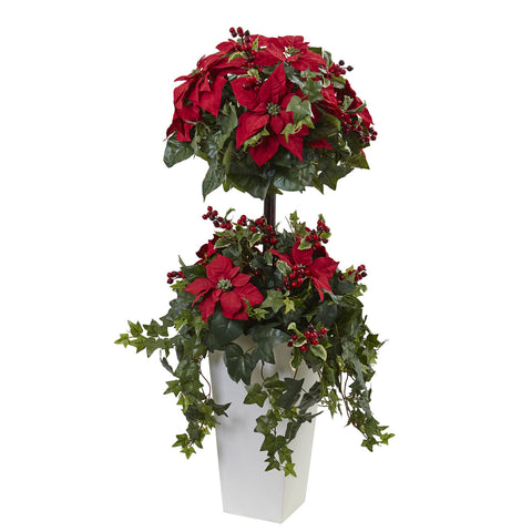 4ft Poinsettia Berry Topiary w/Decorative Planter - Nearly Natural - Dropship Direct Wholesale