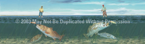 Window Graphic - 20x65 Fishing the Flats - ClearVue Graphics - Dropship Direct Wholesale