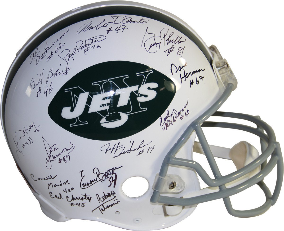 1969 New York Jets Team Signed Authentic 65-77 Throwback Helmet 22 Signatures