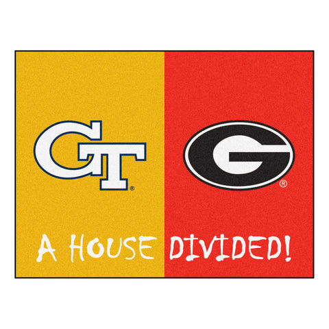 Georgia Tech - Georgia NCAA House Divided Rugs 33.75x42.5 - FANMATS - Dropship Direct Wholesale