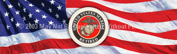 Window Graphic - 20x65 U.S. Marines Retired - ClearVue Graphics - Dropship Direct Wholesale